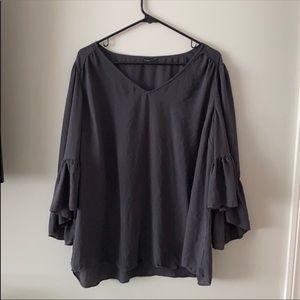 Torrid grey flowy top with ruffle sleeves
